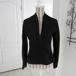 Rowan Black Textured Fitted Peplum Jacket